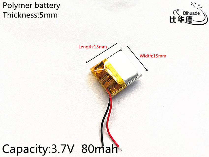 3.7V <font><b>80mAh</b></font> 501515 Lithium Polymer <font><b>LiPo</b></font> Rechargeable Battery ion cells For Mp3 Mp4 Mp5 DIY PAD DVD E-book bluetooth headset image