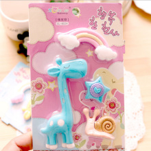 1Pcs Stationery Supplies Kawaii Cartoon Pencil Erasers cute giraffe office Correction Kid learning Gifts