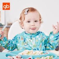 GB Baby Feeding Bib Apron Waterproof Lovely Cute Baby Bib Long Sleeve Baberos Impermeables Baby Self
