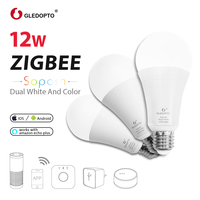 GLEDOPTO ZIGBEE 12W RGB+CCT smart bulb AC100 240V RGB and dual white dimmer LED bulb dimmable lamp RGBWW work Amazon Echo PLUS