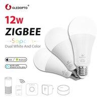 GLEDOPTO ZIGBEE 12W RGB+CCT smart bulb AC100 240V RGB and dual white dimmer LED bulb dimmable lamp RGBWW work Amazon Echo PLUS