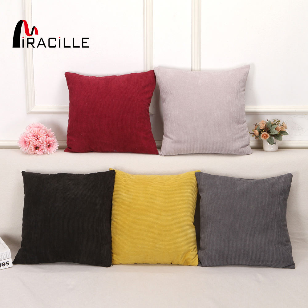 Miracille Supersoft Striped Corduroy Square Solid Color Decorative Velvet Cushion Cover For Bed Car Couch Sofa Throw Pillowcase
