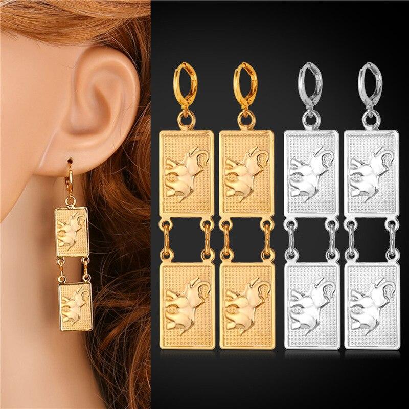 8b5426651877 Elefante lindo Pendientes de gota animal moda joyería para las mujeres  oro plata color declaración joyas al por mayor E339