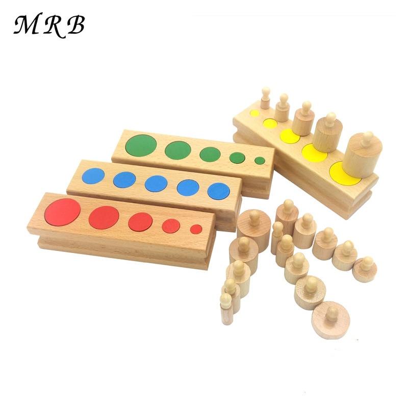 Дерев'яні іграшки для дітей Монтессорі Іграшки для освіти Циліндричні гнізда Блоки для іграшок Дитяча практика розвитку і почуття сімейна версія