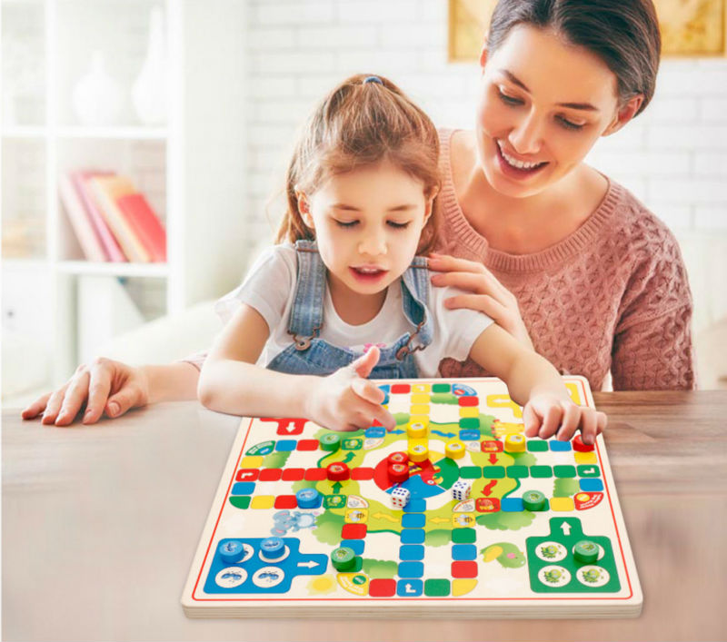 Ludo Game With Wooden Chinese Checkers Game Kids