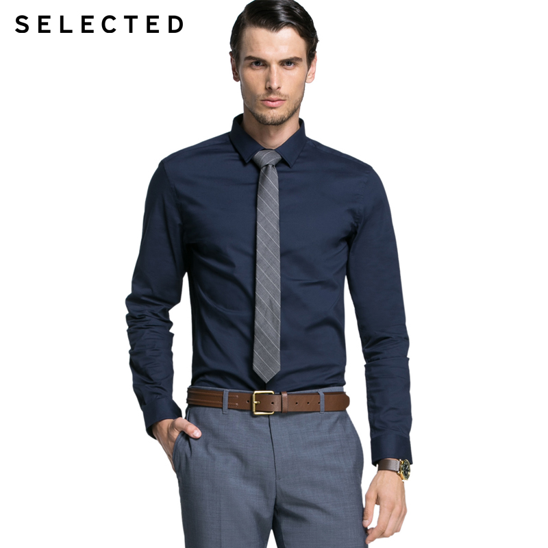 SELECTED brand 2017 Autumn NEW men fashion COTTON European and American Style solid work wear shirts