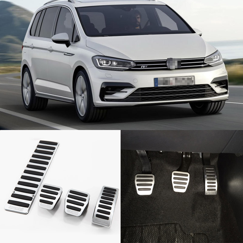 Brand New 4pcs Aluminium Non Slip Foot Rest Fuel Gas Brake Pedal Cover For VW Touran MT 2008-2015 brand new 3pcs aluminium non slip foot rest fuel gas brake pedal cover for vw touran at 2008 2015