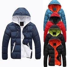 Мужчины Тонкий Вскользь Теплая Куртка С Капюшоном Зимой Толстые Пальто Молния Толстовка Пальто