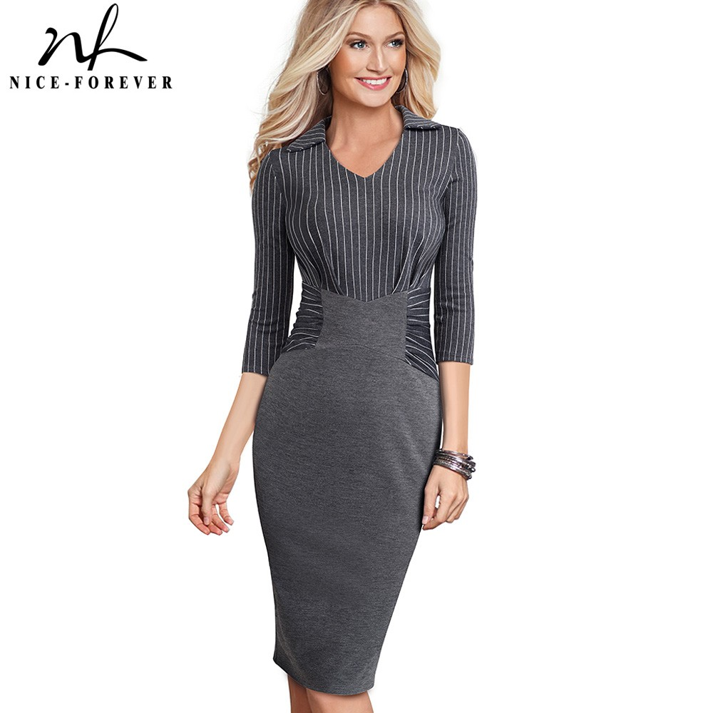 Nice forever Vintage Elegant Stripe Patchwork Wear to Work vestidos Business Party Bodycon Office Women Career Dress B479Dresses   -