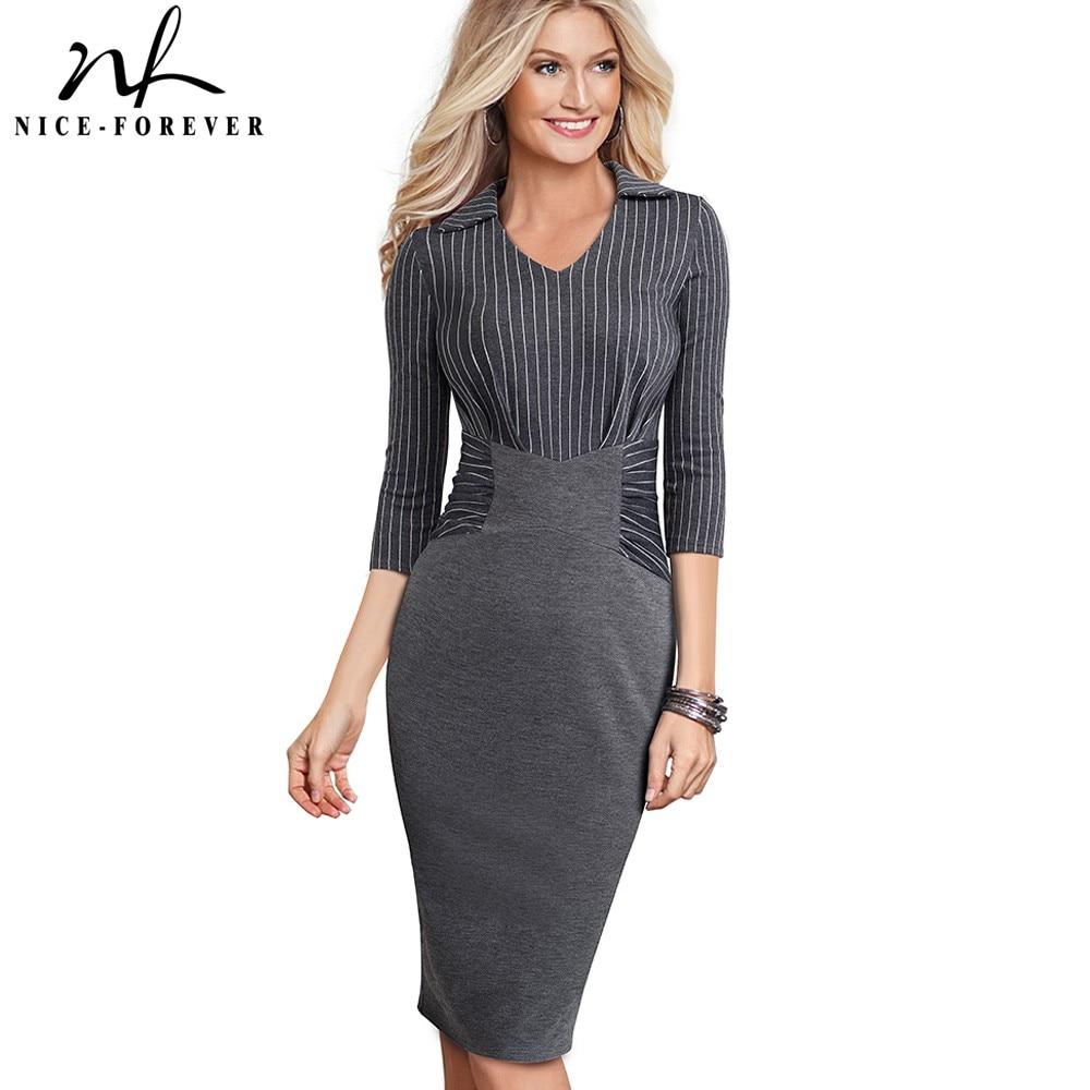 Nice-forever Vintage Elegant Stripe Patchwork Wear To Work Vestidos Business Party Bodycon Office Women Career Dress B479