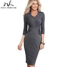 Nice forever Vintage Elegant Stripe Patchwork Wear to Work vestidos Business Party Bodycon Office Women Career Dress B479