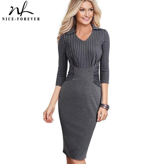Nizza für immer Vintage Elegante Streifen Patchwork Tragen zu Arbeiten vestidos Business Party Bodycon Büro Frauen Karriere Kleid B479