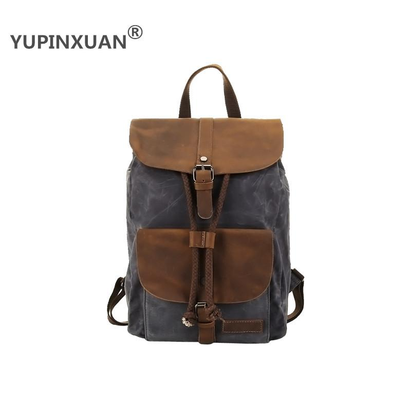 YUPINXUAN High Quality Oil Wax Canvas Backpacks for Men Vintage Waterproof School Backpack 14 Laptop Daypacks Retro Travel Bags 14 15 15 6 inch flax linen laptop notebook backpack bags case school backpack for travel shopping climbing men women