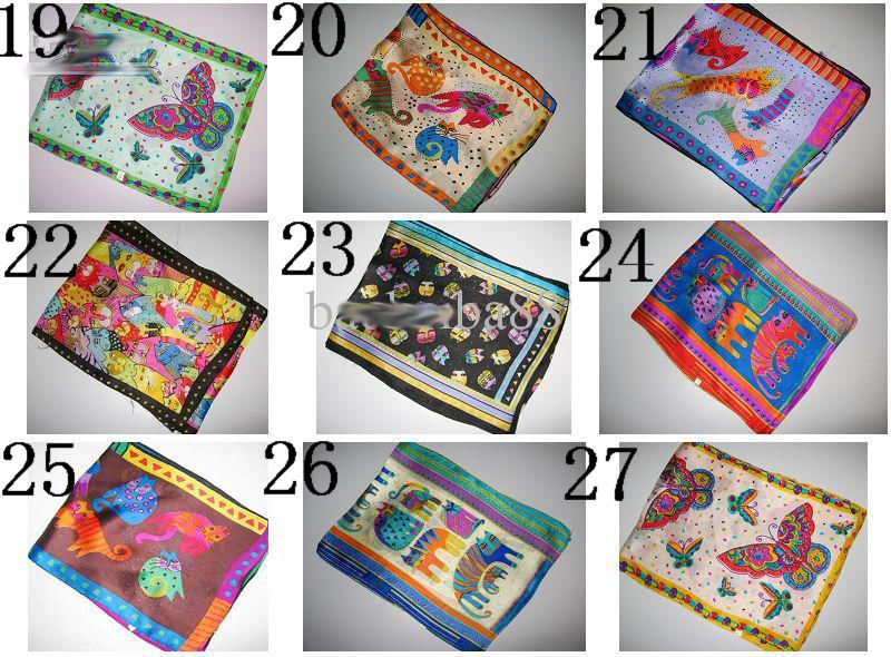 Cutie дизайн животное шелковый шарф шарфы шелковый шарф Смешанные 20 шт./партия Шарм для женщин и детей#1899