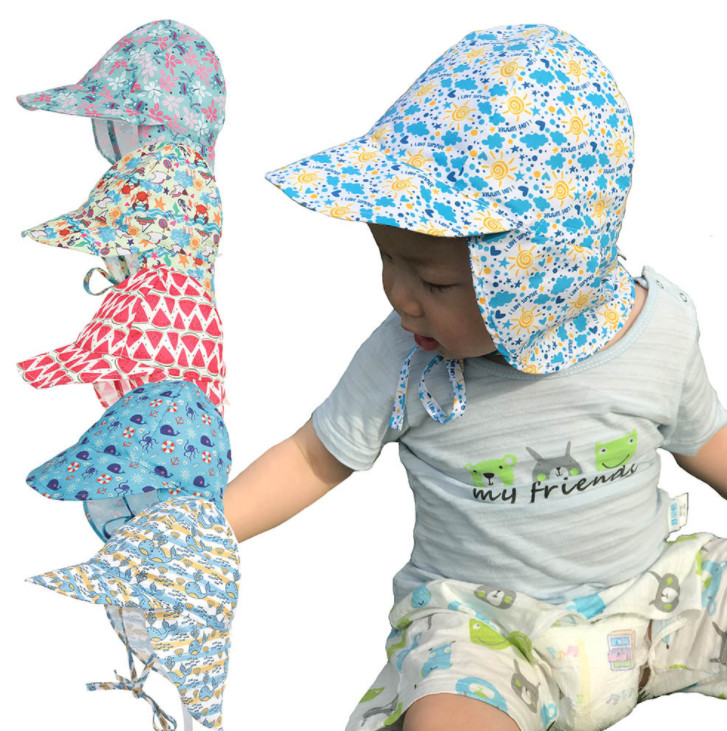 100pcs Cartoon Printed Neck Protector Sun Cap Outdoor Travel Seaside Sunscreen Children Fisherman Cap Quick Drying
