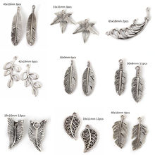 Mini Charms Antique Silver Branches Leaves Feather Shape Pendant Handmade Hanging Crafts for DIY Fashion Vintage Choker Necklace(China)