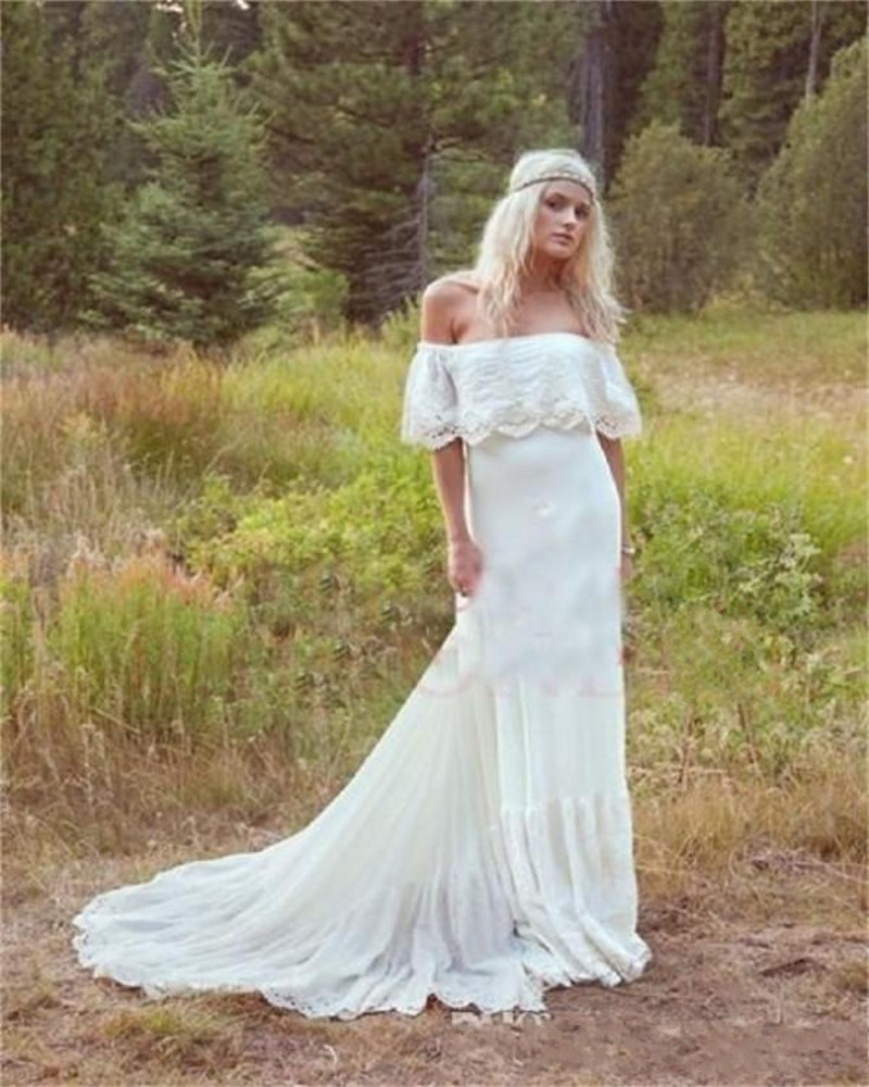 Gallery Bohemian Wedding Dresses: Bohemian Wedding Dress Lace Off Shoulder Sexy White Ivory