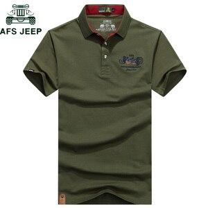 AFS JEEP ماركة التطريز قميص بولو الرجال الصلبة مكافحة بيلينغ تنفس الصيف القطن Camisa قمصان بولو هومبر زائد حجم M-3XL