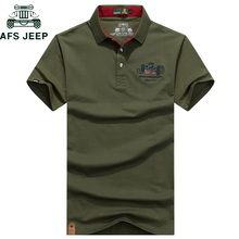 d57a5482 AFS JEEP Brand Embroidery Polo Shirt Men Solid Anti-Pilling Breathable  Summer Cotton Camisa Polo