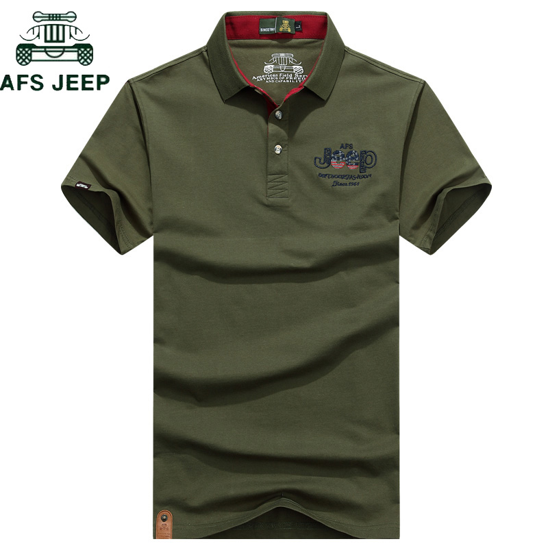 AFS JEEP Brand Embroidery   Polo   Shirt Men Solid Anti-Pilling Breathable Summer Cotton Camisa   Polo   Shirts hombre Plus Size M-3XL