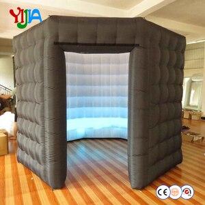 10 футов 210D Оксфорд восьмиугольная надувная фотобудка черный снаружи белый и внутри одна дверь LED фотобудка кабина для вечеринок