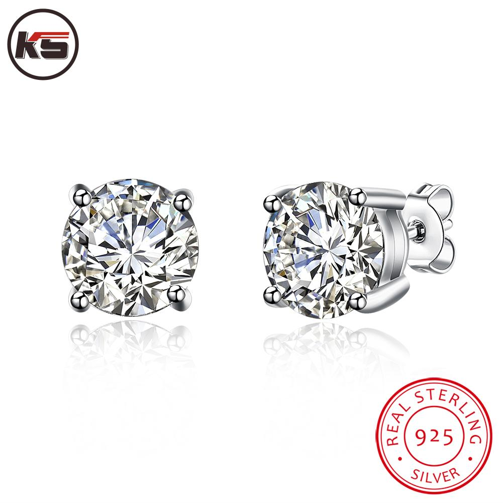 Hot Sales Real 925 Sterling Silver Jewelry Stud Earrings Created Diamond  Zircon Cz For Man Woman