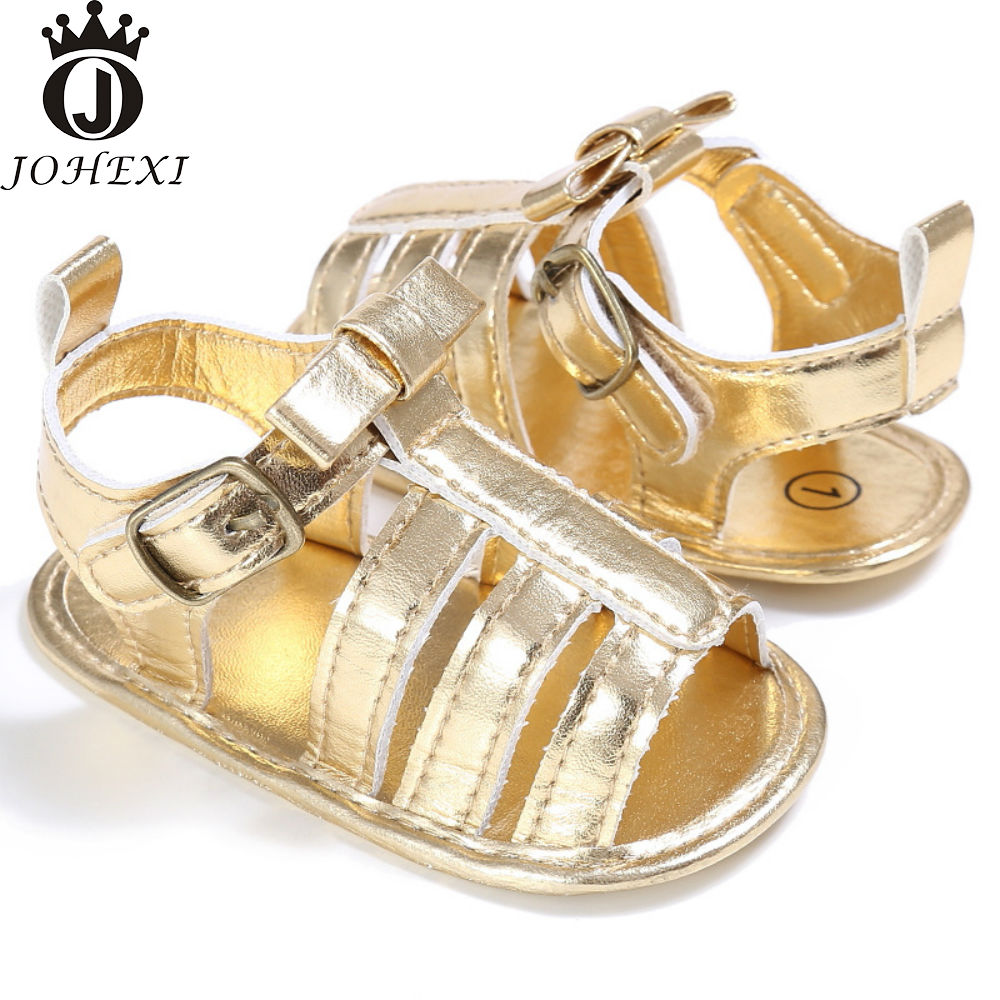 Black newborn sandals - 2017 Summer Fashion Pu Flat With Girl Baby Sandals Newborn Baby Shoe Infant Toddler Breathable Softpink Black Gold Silver11 13cm