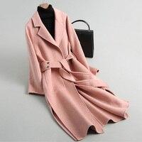 Зима Двусторонняя Шерстяное пальто Для женщин корейский длинный розовый кашемир куртка шерстяная Для женщин одежда Casaco Feminino Осенняя верхн