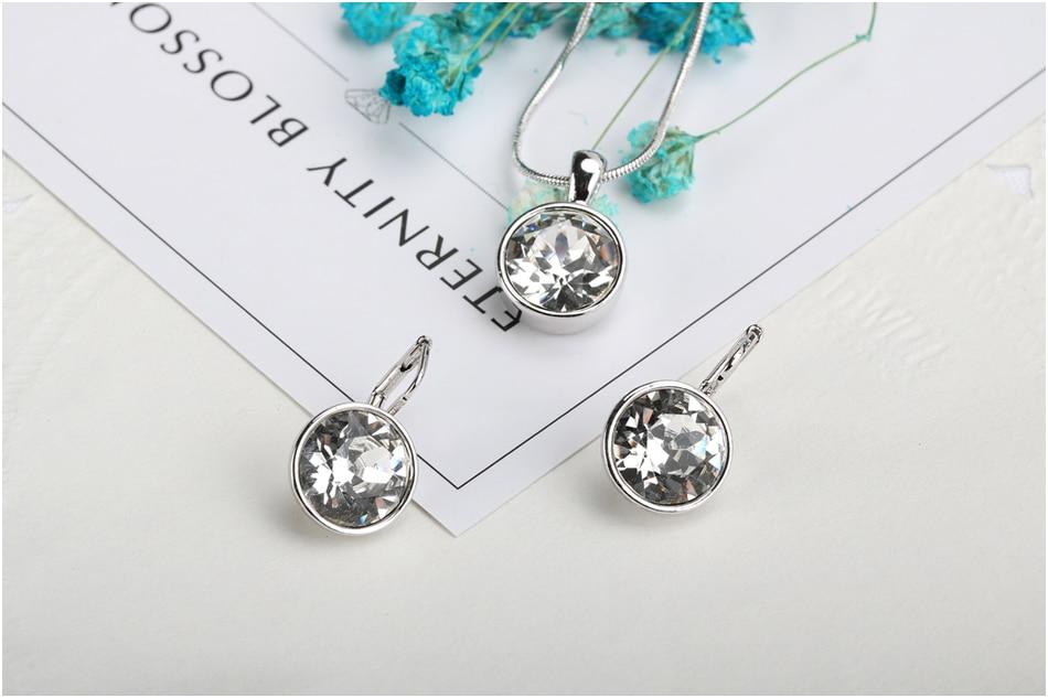 f3216f2fd212 MALANDA marca de cristal blanco Balle de Swarovski moda círculo colgante  collar pendientes conjunto de joyería de boda para mujer