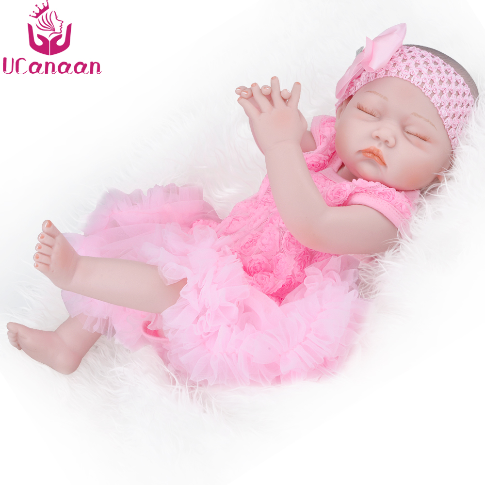 UCanaan 20''/ 50CM Sleep Baby Alive Doll Reborn Silicone Completa Brinquedos Sweet Girl New Born Dolls Boneca Toys For Children ivita 20 inch baby doll reborn dolls born babies silicone dolls reborn alive doll girl boneca reborn silicone completa toys