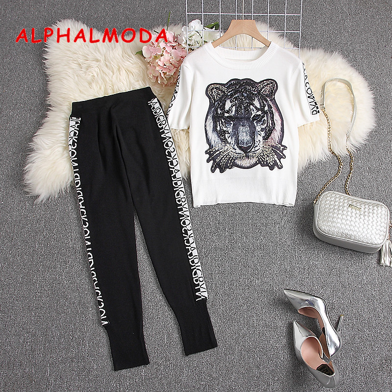 ALPHALMODA 2019 Summer Trendy Knitted Tiger Sweater + Pencil Pants 2pcs Knitting Suit Women Short-sleeved Knit Tracksuits