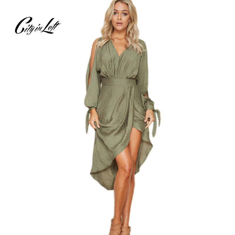 City 2018 Autumn New Arrival Fashion Women Dresses Sexy V-neck Long Sleeves Straps With Irregular Hem Dresses Party Dress CT1159
