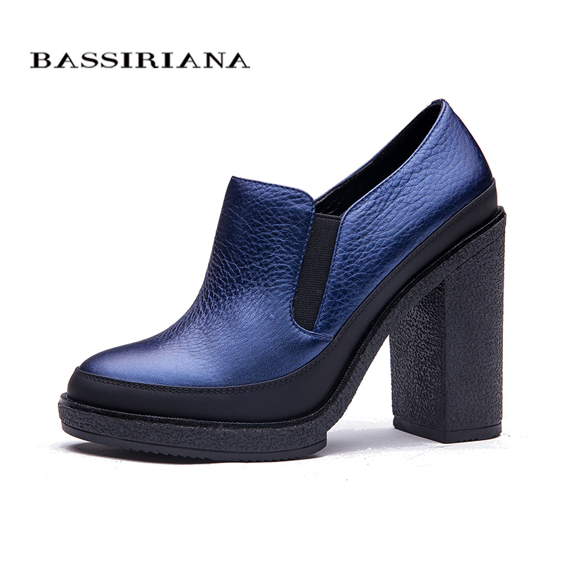BASSIRIANA Womens Pumps New 2018 genuine leather Womens Shoes High Heels round toe Platform Shoes Black Blue spring 35-40