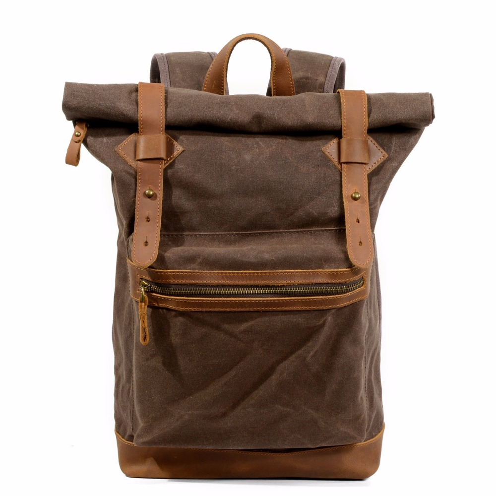 M178 Luxury Vintage Canvas Backpacks For Men Oil Wax Canvas Leather Travel Backpack Multifunction Waterproof Daypacks Retro Bag oil wax canvas backpacks for women and men classic vintage leather bookbags school bag college travel green backpack