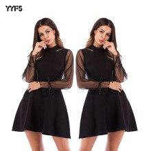лучшая цена New dress European and American fashion mesh stitching knit dress solid color A word dress N30D