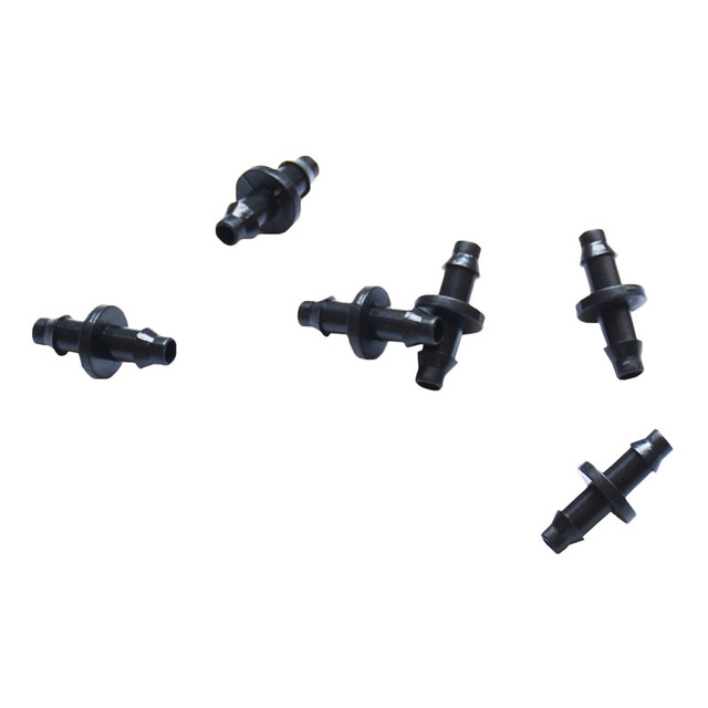 1/4″irrigation connector 1/4″straight barbs barbed double way joint drip irrigation 4/7 hose connector plastic hose barb