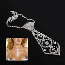 Men Women Kids Elegant Glitter Rhinestone Tie Shaped Necklace for Prom Party
