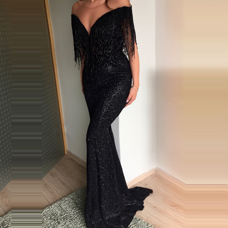 U-SWEAR 2019 New Sexy Deep V-Neck Sleeveless Tassel Evening Dresses Party Prom Formal Gowns Long Sequin Vestidos Robe De Soiree