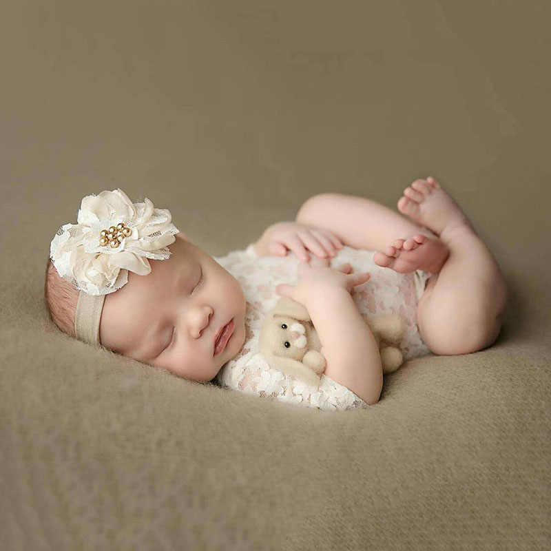 1edf4aaa56 ... White Newborn Photography Props Baby Girl Lace Romper with Bow Infant  Jumpsuit Baby Girl Clothes for ...