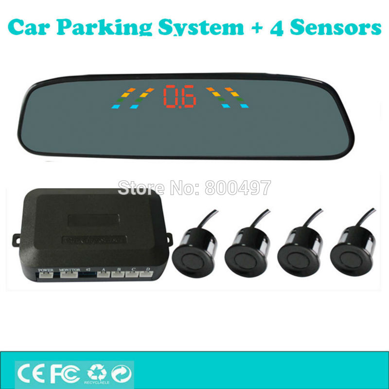 New Car Parking Assistance System with 4 Parking Sensors Rearview Mirror Display Auto Backup Reverse Radar System Alarm Kit lcd parking sensors display monitor rearview car parking assistance backup radar system 4 sensors reverse radar car accessories