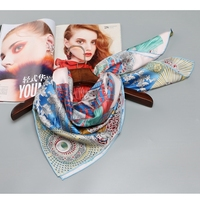 Hand Roll High Quality Large Square Silk Scarf Shawl Women Head Scarves For Hair Wrapping 100