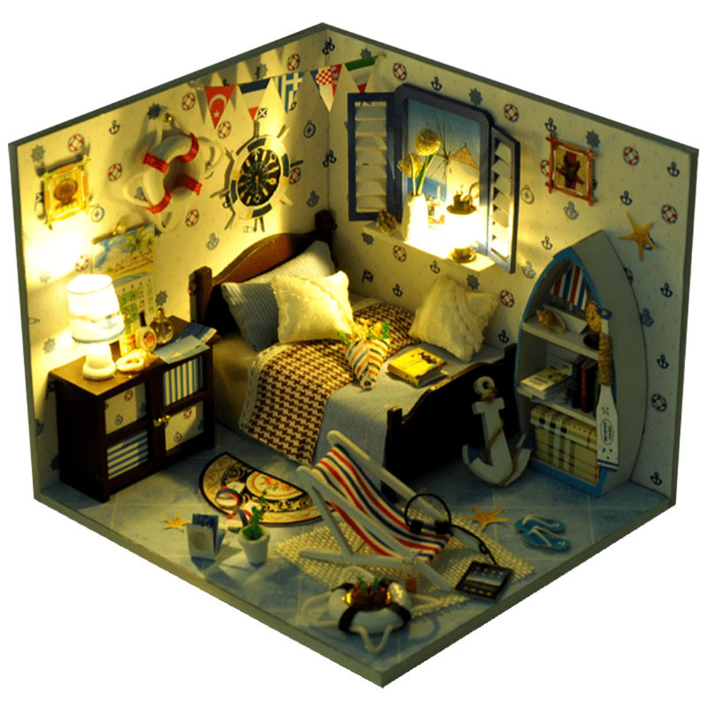DIY Miniature Room Wooden Doll House Summer Sea with Furniture LED Lights Dust Cover Dollhouse Toys for Children