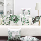 Green Plant Printed Square Pillowcase Big Leaves Cushions Decorative Pillow Home Decor Sofa Throw Pillows Home Pillow Decoration