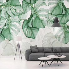 Customized high-end wallpaper hand-painted tortoiseshell back tropical plant background wall paper mural waterproof material