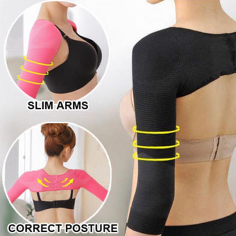 Women Arm Slimming Back Posture Corrector Humpback Prevent Body Elastic Shaper Shoulder Long Sleeve Upper Underwear Tool #2