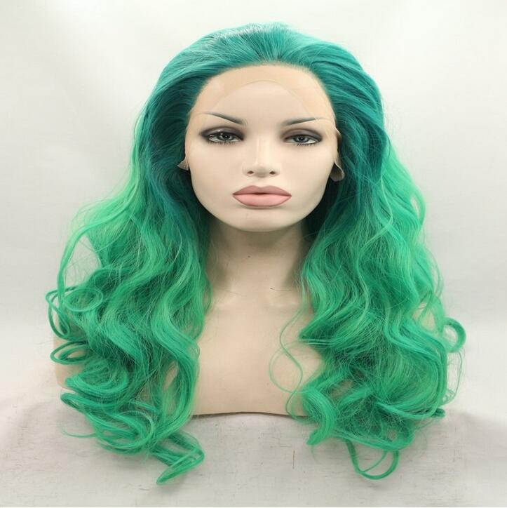 Blue green turquoise wig synthetic lace front wig heat resistant round face hairstyles blue green ombre