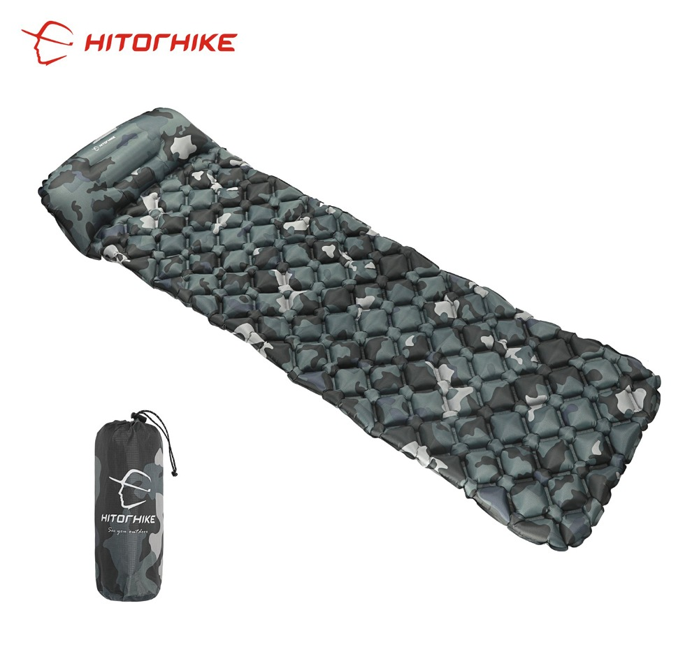 Hitorhike Inflatable Single Sleeping Pad Camping Cushion Moistureproof Air Bed Mats Super Light Portable Airbed with Pillow 522g