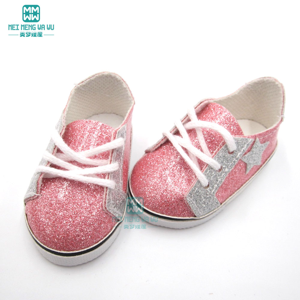 2019 New 7.5cm Toy Baby Shoes Pink Glossy Sneakers Fit 43 Cm  New Born Doll And Americn Doll Shoes