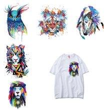 Модный Цветной пластырь с животными, железная наклейка для одежды, Diy Футболка, Виниловая аппликация на одежду, наклейки, топы, термопресс E
