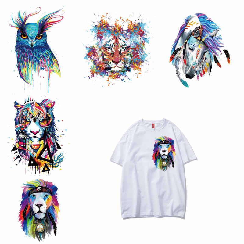 Fashion Colorful Animal Patch Iron on Transfers for Clothing Diy T-shirt Vinyl Applique on Clothes Stickers Tops Thermal Press E